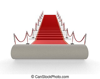 red carpet - 3d rendered illustration of an unrolled red ...
