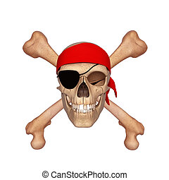 Ancient skull with bones