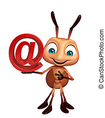 Ant cartoon character with at the rate sign - 3d rendered ...