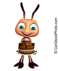 Ant cartoon character with cake - 3d rendered illustration ...
