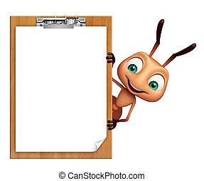 Ant cartoon character with exam pad - 3d rendered ...