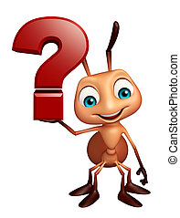 Ant cartoon character with question mark sign - 3d rendered ...