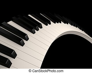 piano keys - 3d rendered illustration of black and white ...