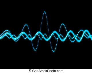 3d rendered illustration of blue sound waves