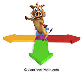 Boar cartoon character with arrow sign
