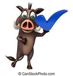 Boar cartoon character with right sign