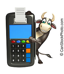 Bull cartoon character with swap machine - 3d rendered ...