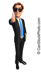 Business man on blank background
