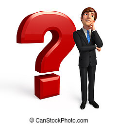 Business man with question mark - 3d rendered illustration...