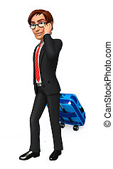 Business man with traveling bag - 3d rendered illustration...