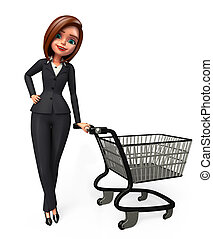 3d rendered illustration of Business woman with trolley