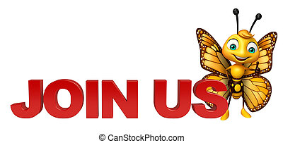 3d rendered illustration of Butterfly cartoon character with join us sign