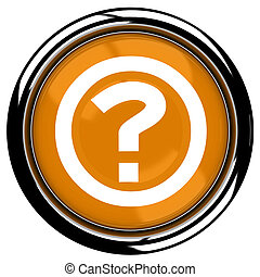 3D rendered illustration of button icon with Question mark