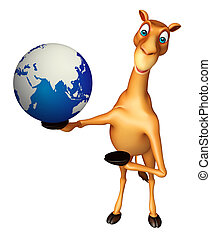 Camel cartoon character with earth