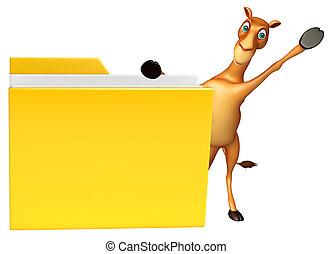 Camel cartoon character with folder