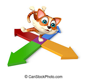 cat cartoon character with arrow sign