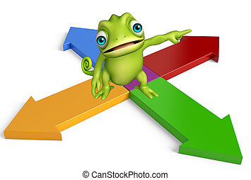 Chameleon cartoon character with arrow sign