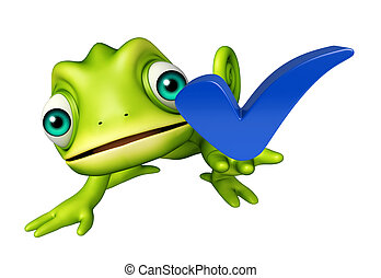 Chameleon cartoon character with right sign