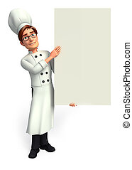 Chef with big white sign