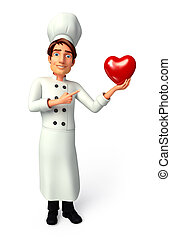 Chef with red heart - 3d rendered illustration of Chef with...