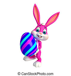 Cute Easter Bunny - 3d rendered illustration of Cute Easter...