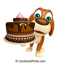 Dog cartoon character with cake - 3d rendered illustration ...