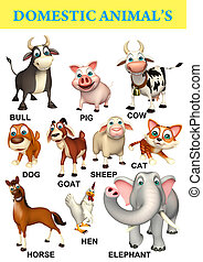 domastic animal chart - 3d rendered illustration of domastic...