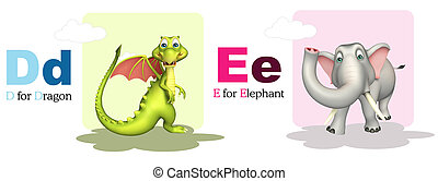 Donkey and Elephant with Alphabate - 3d rendered...