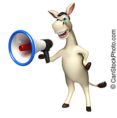 Donkey cartoon character with loudspeaker - 3d rendered ...