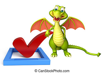 Dragon cartoon character with right sign