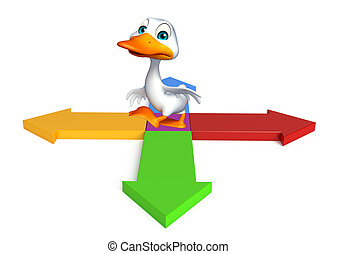 Duck cartoon character with arrow sign