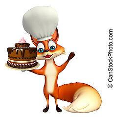 Fox cartoon character with chef hat with cake - 3d rendered ...