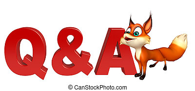 Fox cartoon character with Q&A sign