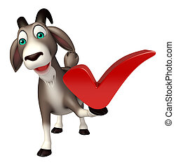Goat cartoon character with right sign