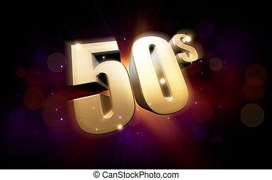 golden 50s - 3d rendered illustration of golden 50s numbers...