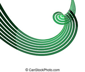 3d rendered illustration of green abstract lines