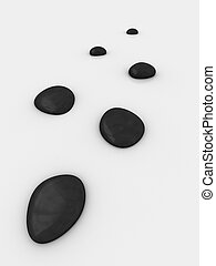 stones - 3d rendered illustration of grey stones