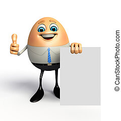 Happy egg as business man with sign