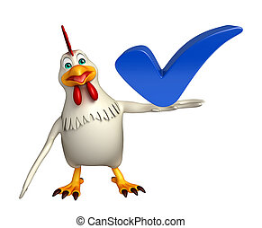 Hen cartoon character with right sign