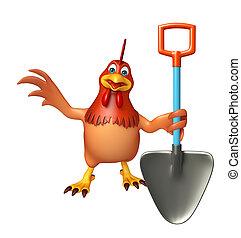 Hen cartoon character with shovel