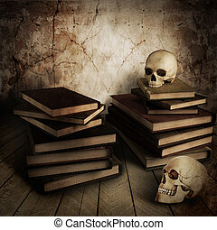 Human skull with pile of books