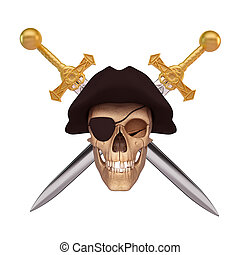 human skull with two sword