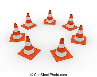 3d rendered illustration of isolated traffic cones
