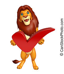 Lion cartoon character with right sign