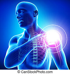 Male Shoulder pain on blue - 3d rendered illustration of ...