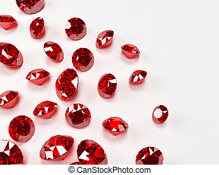 3d rendered illustration of many expensive rubies on white background