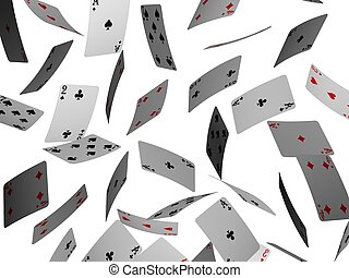 3d rendered illustration of many falling poker cards