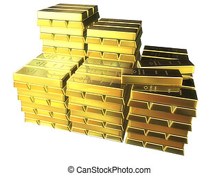 gold bars - 3d rendered illustration of many gold bars