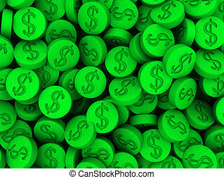 ecstasy pills - 3d rendered illustration of many green...