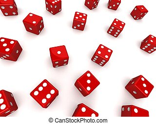 red dice - 3d rendered illustration of many red dice